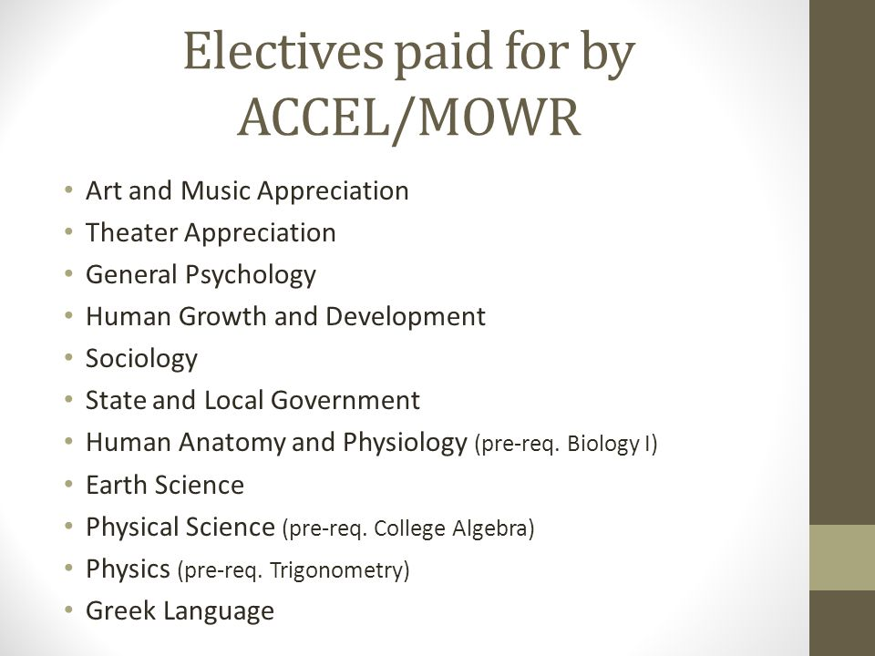 Electives paid for by ACCEL/MOWR Art and Music Appreciation Theater Appreciation General Psychology Human Growth and Development Sociology State and L
