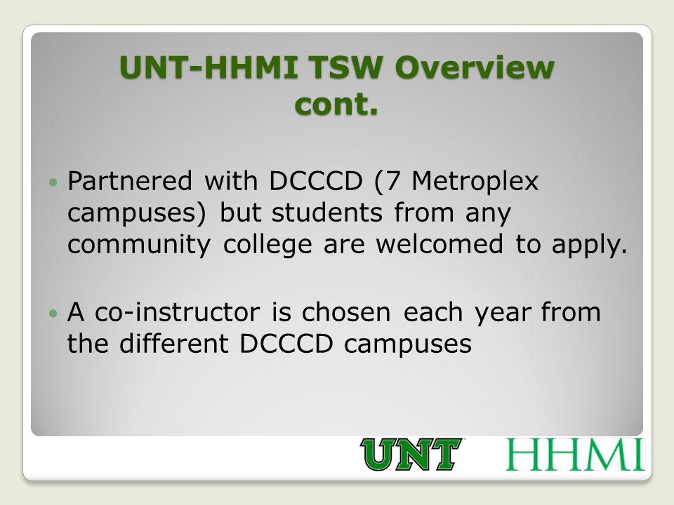 UNT-HHMI TSW Overview cont.