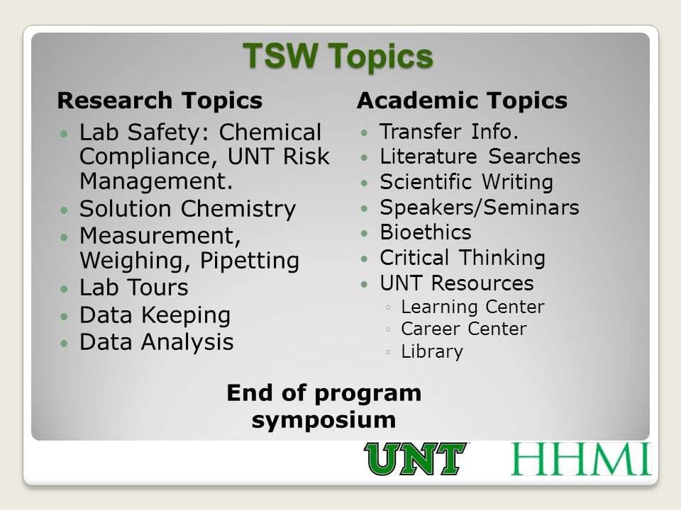 TSW Topics Research Topics Academic Topics Lab Safety: Chemical Compliance, UNT Risk Management.