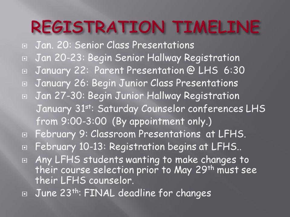  Jan. 20: Senior Class Presentations  Jan 20-23: Begin Senior Hallway Registration  January 22: Parent Presentation @ LHS 6:30  January 26: Begin