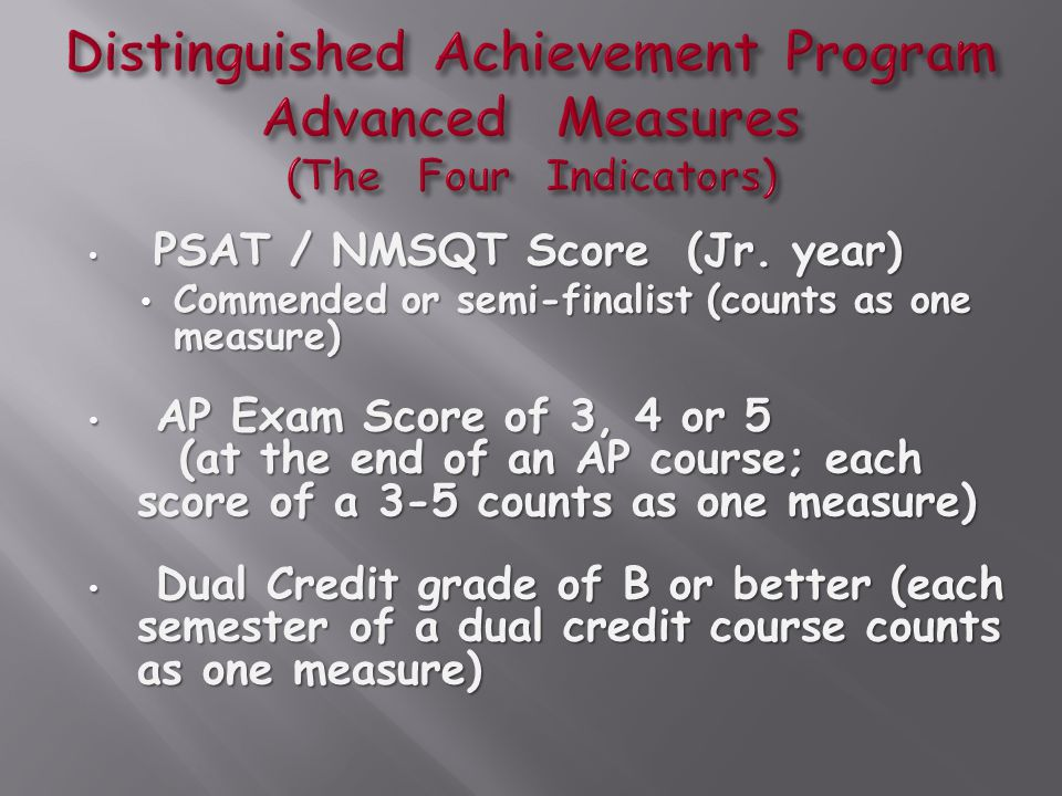 PSAT / NMSQT Score (Jr. year) PSAT / NMSQT Score (Jr. year) Commended or semi-finalist (counts as one measure) Commended or semi-finalist (counts as o