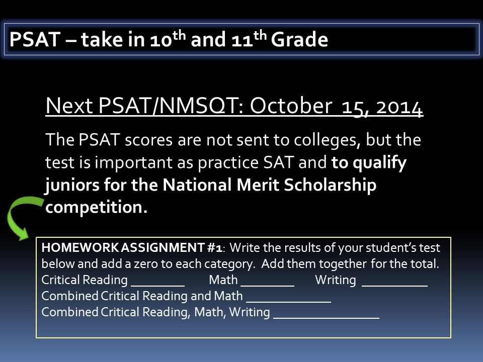 Next PSAT/NMSQT: October 15, 2014 HOMEWORK ASSIGNMENT #1: Write the results of your student's test below and add a zero to each category.