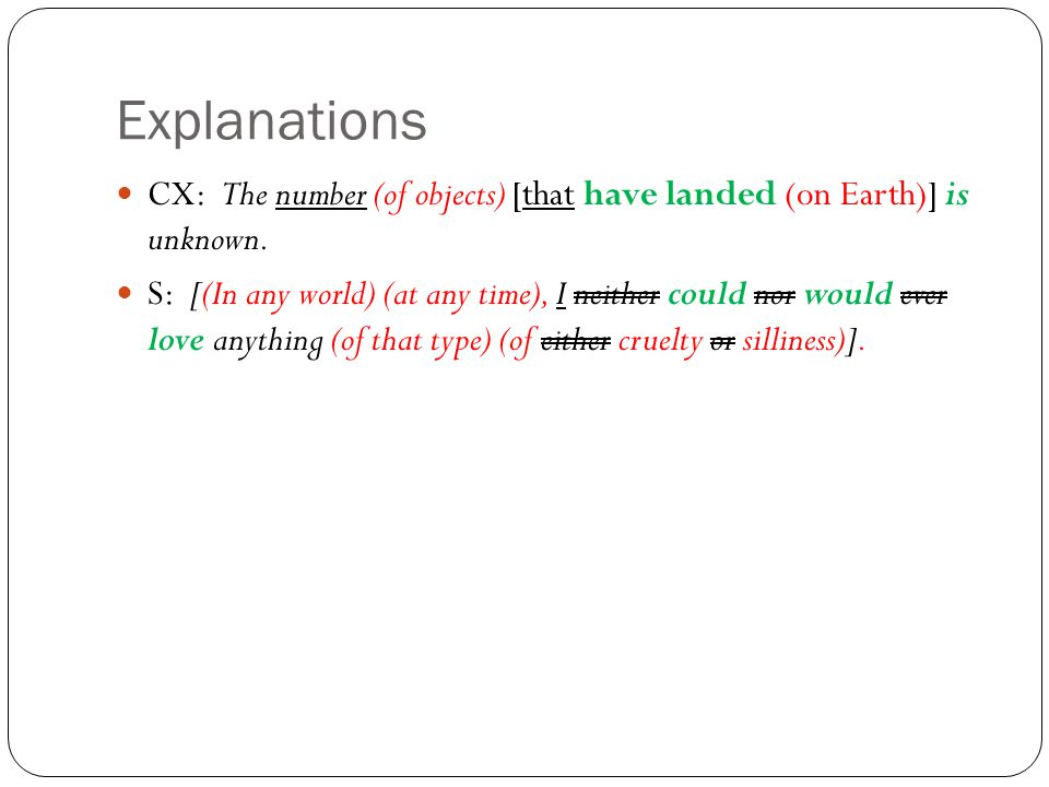 Explanations CX: The number (of objects) [that have landed (on Earth)] is unknown.