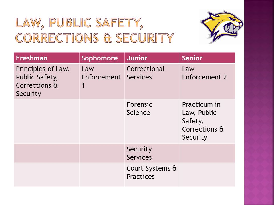FreshmanSophomoreJuniorSenior Principles of Law, Public Safety, Corrections & Security Law Enforcement 1 Correctional Services Law Enforcement 2 Forensic Science Practicum in Law, Public Safety, Corrections & Security Security Services Court Systems & Practices