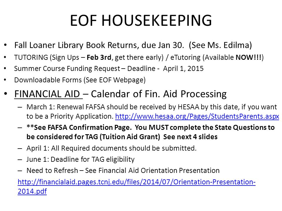 EOF HOUSEKEEPING Fall Loaner Library Book Returns, due Jan 30.