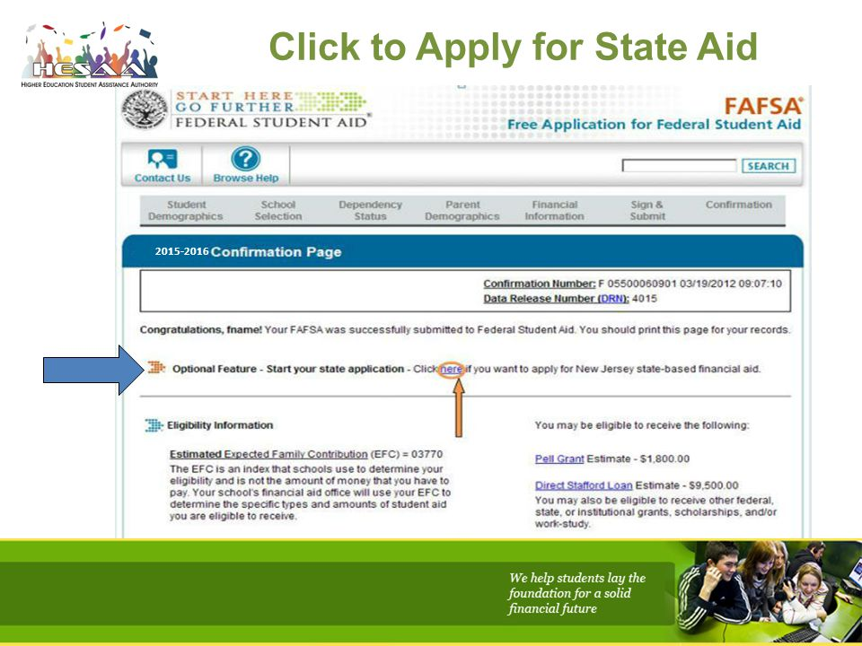 Click to Apply for State Aid 2015-2016