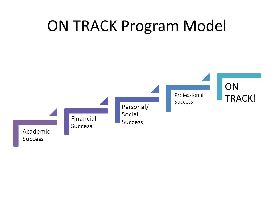 ON TRACK Program Model Academic Success Financial Success Personal/ Social Success Professional Success ON TRACK!