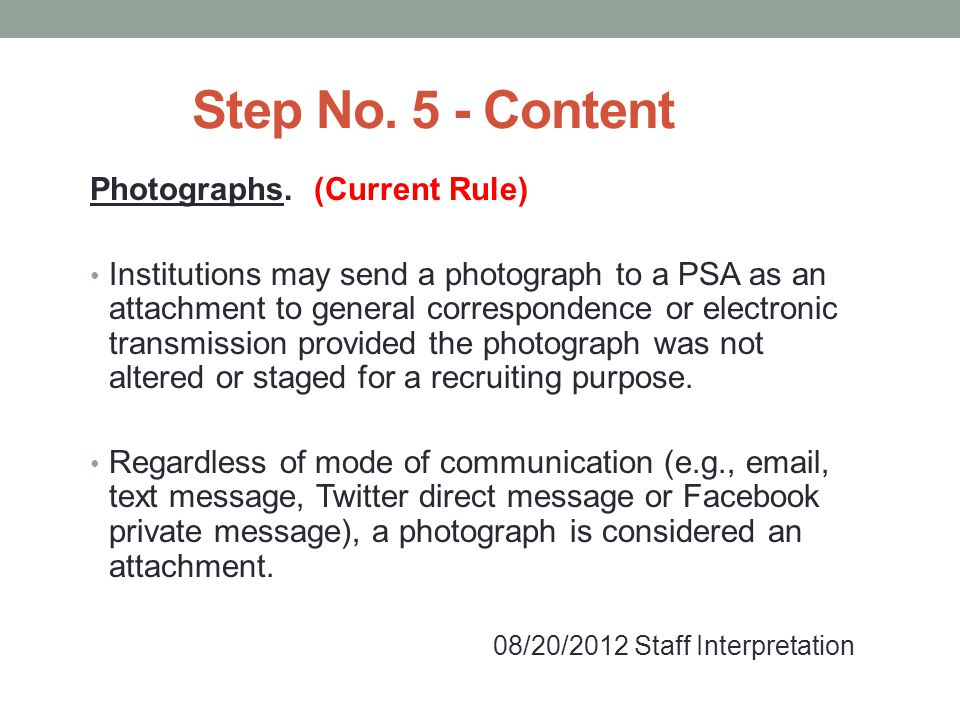 Step No.5 - Content Photographs.