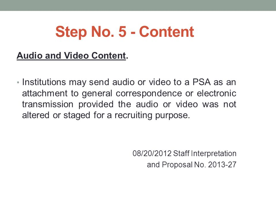 Step No.5 - Content Audio and Video Content.