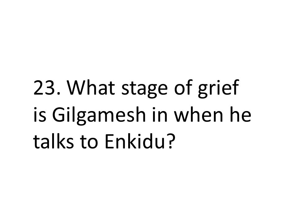 23. What stage of grief is Gilgamesh in when he talks to Enkidu