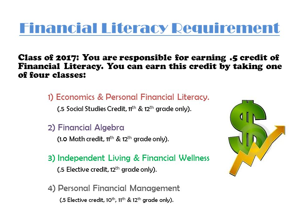 Financial Literacy Requirement Class of 2017: You are responsible for earning.5 credit of Financial Literacy.