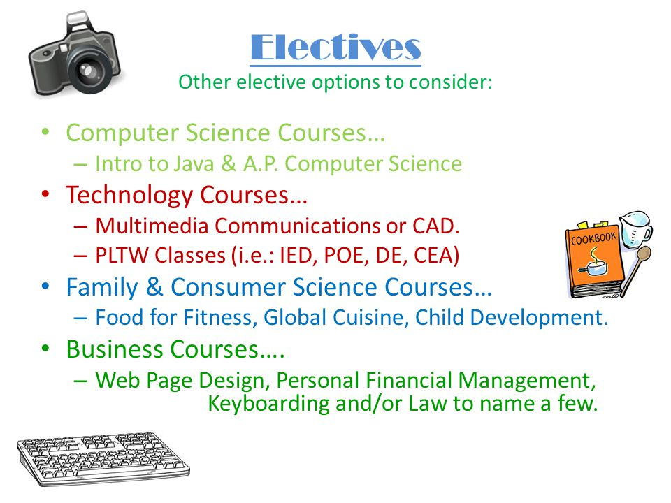 Electives Other elective options to consider: Computer Science Courses… – Intro to Java & A.P.