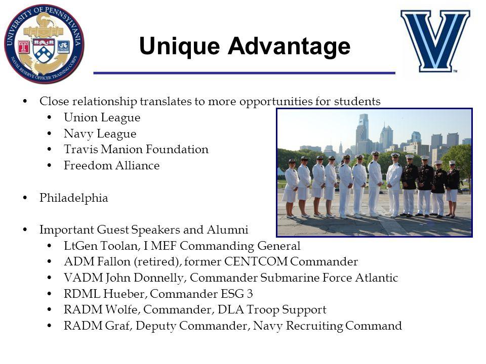 Unique Advantage Close relationship translates to more opportunities for students Union League Navy League Travis Manion Foundation Freedom Alliance P