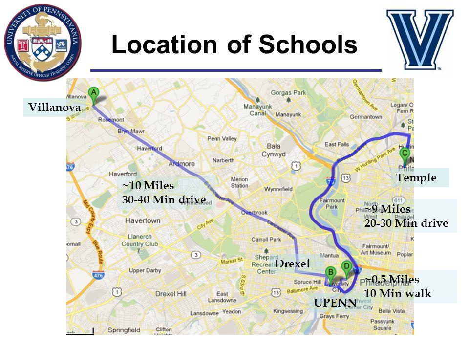 Villanova UPENN Drexel Temple ~10 Miles 30-40 Min drive ~9 Miles 20-30 Min drive ~0.5 Miles 10 Min walk Location of Schools
