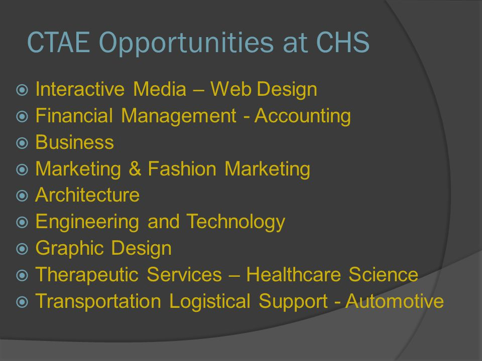 CTAE Opportunities at CHS  Interactive Media – Web Design  Financial Management - Accounting  Business  Marketing & Fashion Marketing  Architecture  Engineering and Technology  Graphic Design  Therapeutic Services – Healthcare Science  Transportation Logistical Support - Automotive