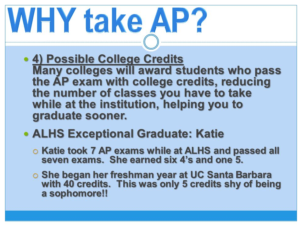 4) Possible College Credits Many colleges will award students who pass the AP exam with college credits, reducing the number of classes you have to take while at the institution, helping you to graduate sooner.