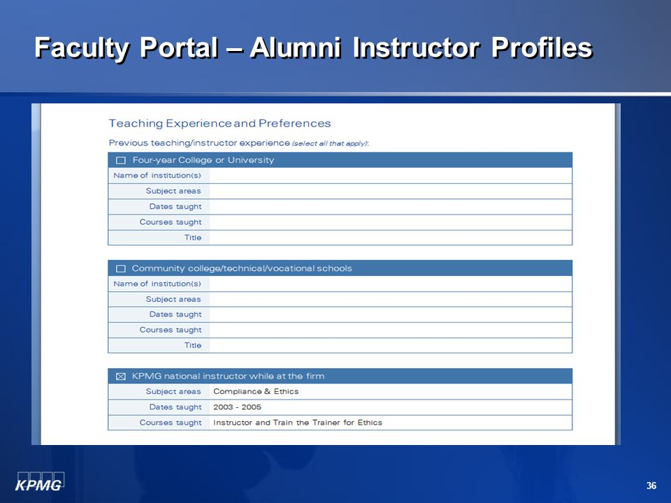 Faculty Portal – Alumni Instructor Profiles 35