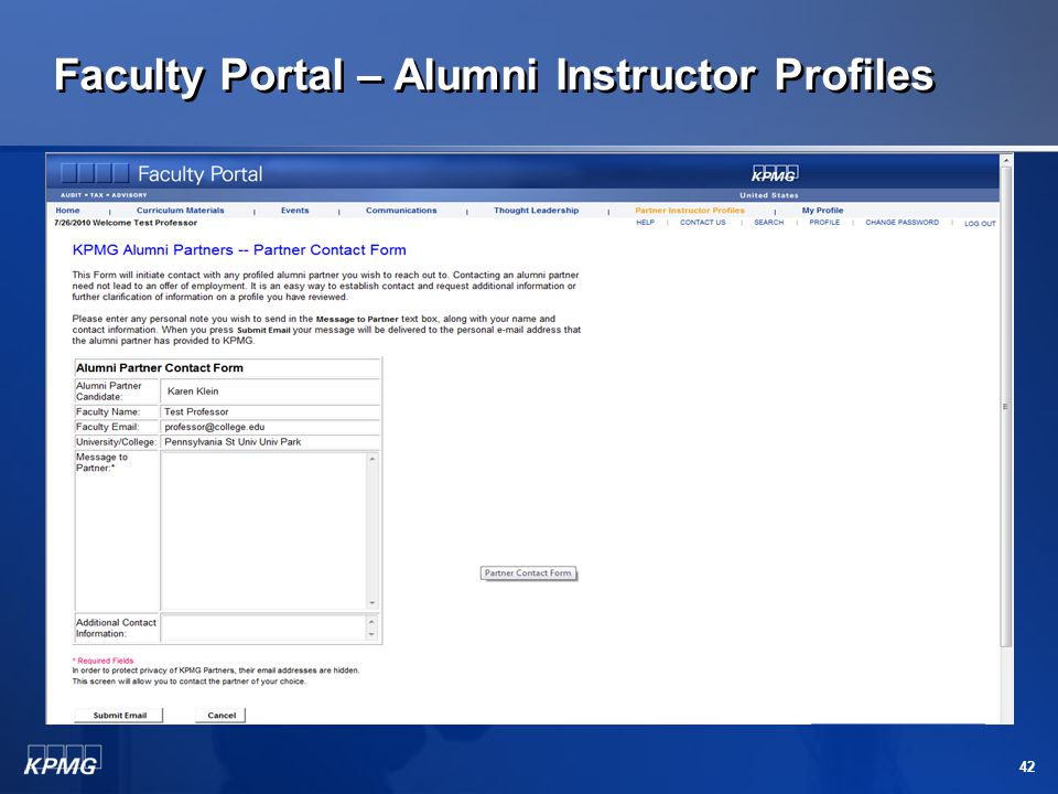 Faculty Portal – Alumni Instructor Profiles 41