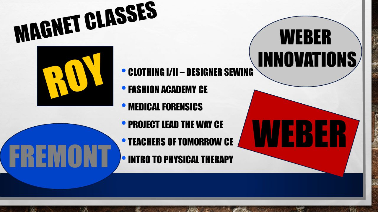 MAGNET CLASSES CLOTHING I/II – DESIGNER SEWING FASHION ACADEMY CE MEDICAL FORENSICS PROJECT LEAD THE WAY CE TEACHERS OF TOMORROW CE INTRO TO PHYSICAL