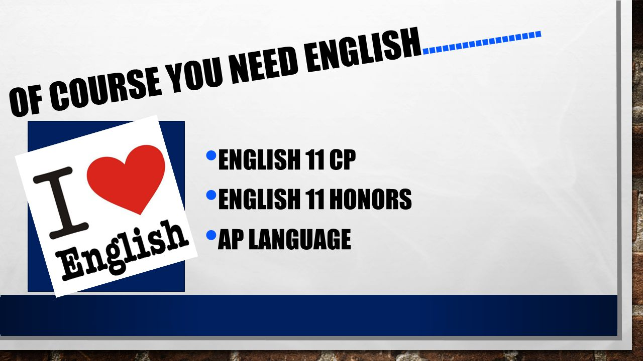 OF COURSE YOU NEED ENGLISH……………… ENGLISH 11 CP ENGLISH 11 HONORS AP LANGUAGE
