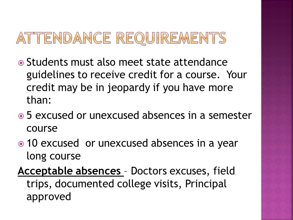  Students must also meet state attendance guidelines to receive credit for a course.