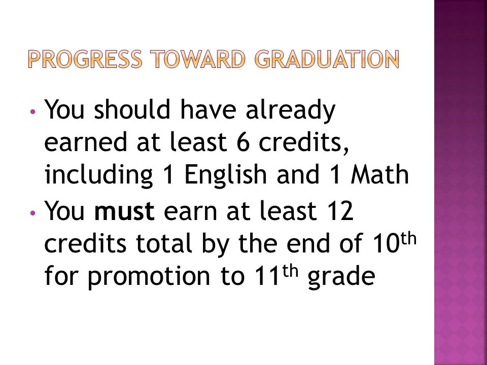 You should have already earned at least 6 credits, including 1 English and 1 Math You must earn at least 12 credits total by the end of 10 th for promotion to 11 th grade