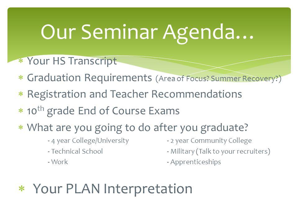  Your HS Transcript  Graduation Requirements (Area of Focus.