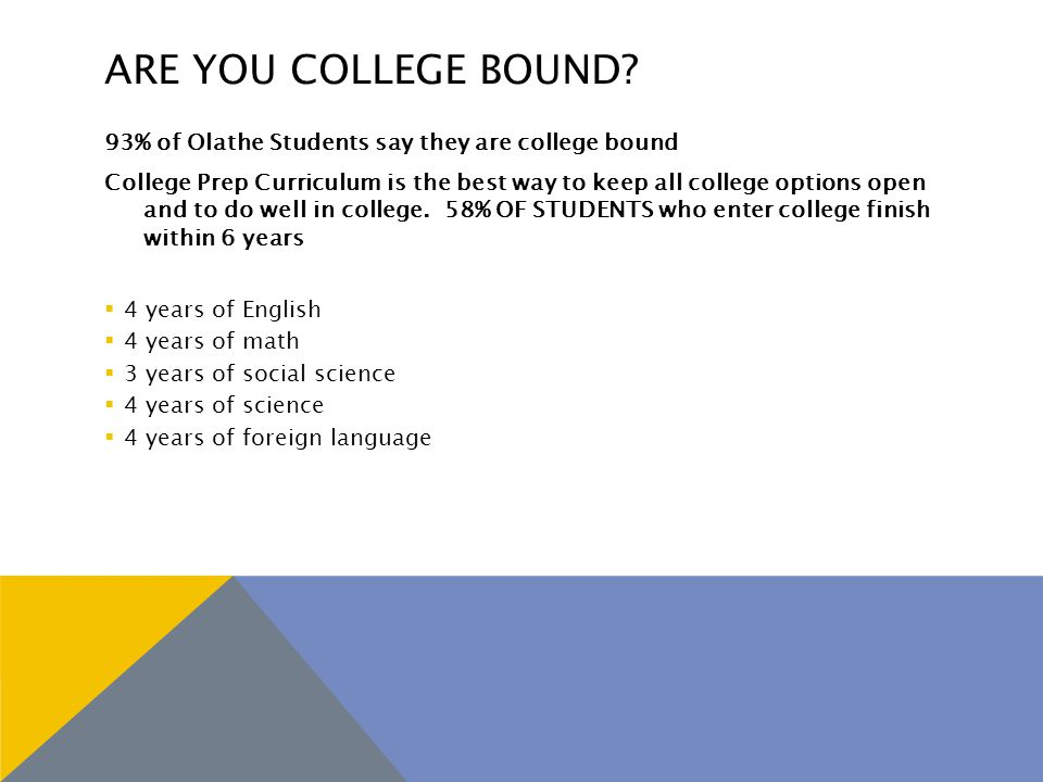 ARE YOU COLLEGE BOUND.