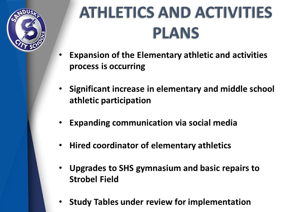 ATHLETICS AND ACTIVITIES PLANS Expansion of the Elementary athletic and activities process is occurring Significant increase in elementary and middle school athletic participation Expanding communication via social media Hired coordinator of elementary athletics Upgrades to SHS gymnasium and basic repairs to Strobel Field Study Tables under review for implementation