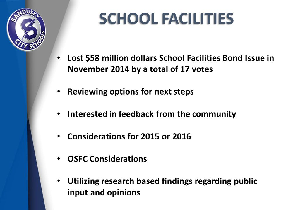 SCHOOL FACILITIES Lost $58 million dollars School Facilities Bond Issue in November 2014 by a total of 17 votes Reviewing options for next steps Interested in feedback from the community Considerations for 2015 or 2016 OSFC Considerations Utilizing research based findings regarding public input and opinions