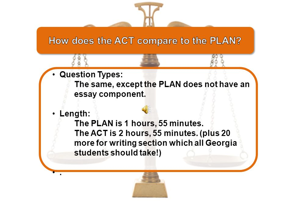 A sort of pre-ACT that measures the same skills you'll need for the ACT and measures skills you will need for college too!