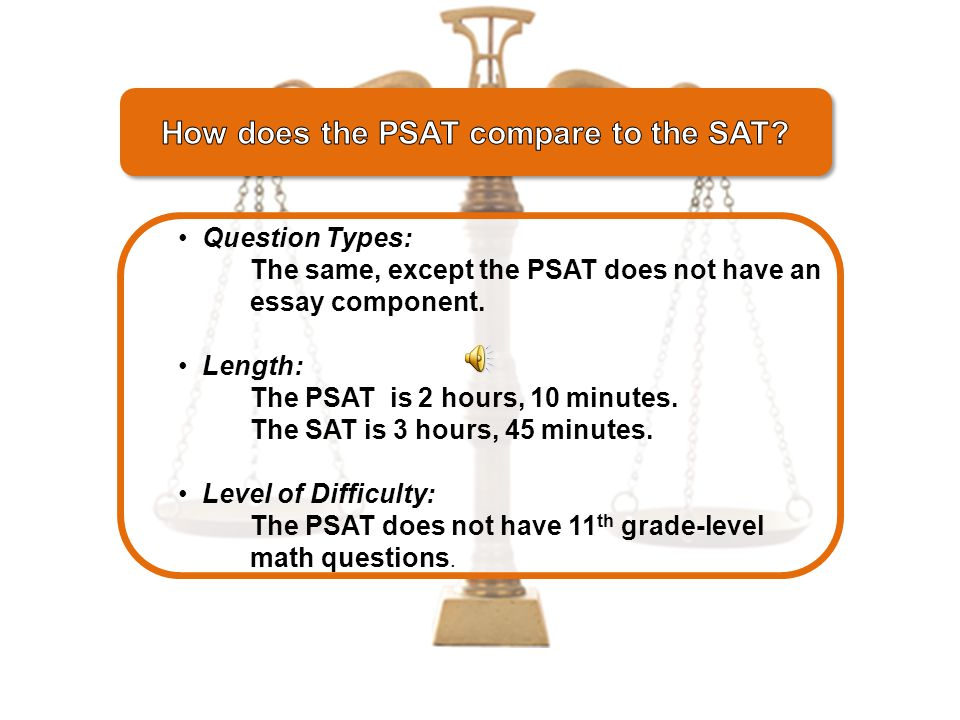 A sort of pre-SAT that measures academic skills you'll need for college and predicts a score on the SAT.