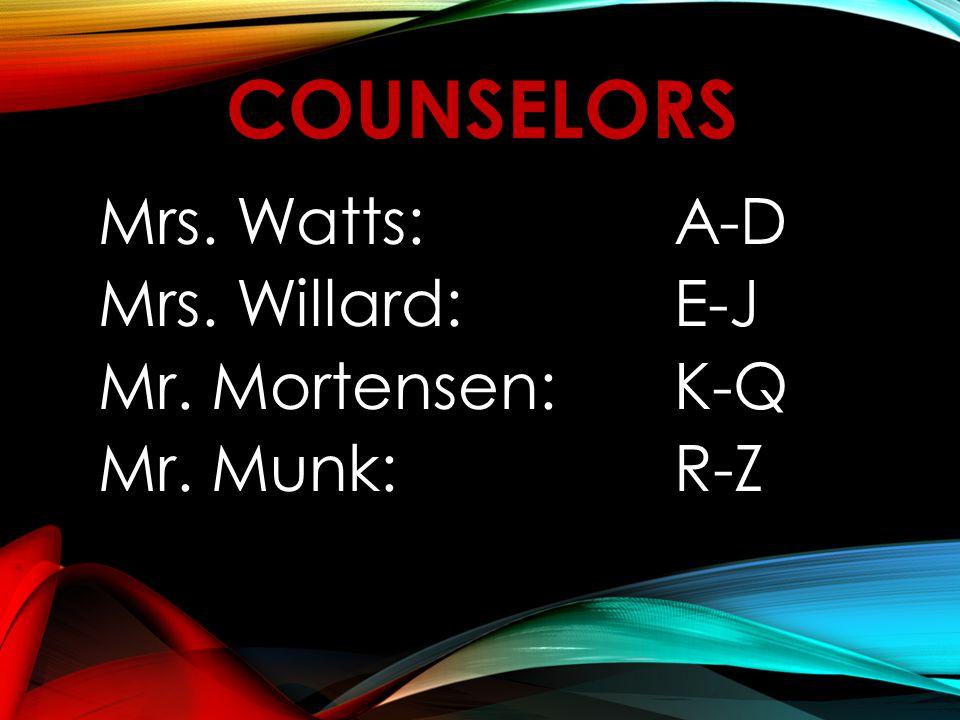 COUNSELORS Mrs. Watts:A-D Mrs. Willard:E-J Mr. Mortensen:K-Q Mr. Munk:R-Z
