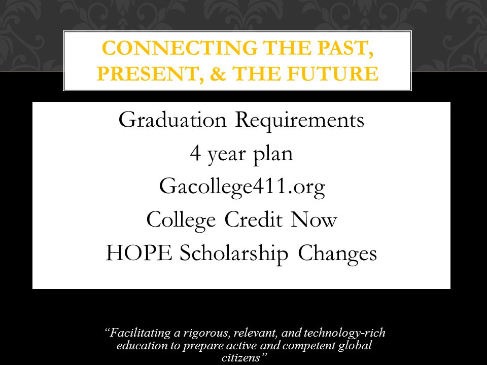 Graduation Requirements 4 year plan Gacollege411.org College Credit Now HOPE Scholarship Changes Facilitating a rigorous, relevant, and technology-rich education to prepare active and competent global citizens CONNECTING THE PAST, PRESENT, & THE FUTURE