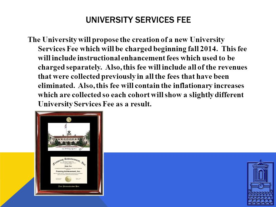 UNIVERSITY SERVICES FEE The University will propose the creation of a new University Services Fee which will be charged beginning fall 2014.