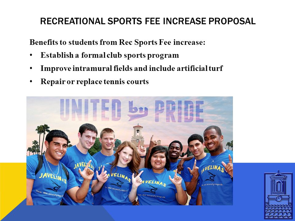 RECREATIONAL SPORTS FEE INCREASE PROPOSAL Benefits to students from Rec Sports Fee increase: Establish a formal club sports program Improve intramural fields and include artificial turf Repair or replace tennis courts