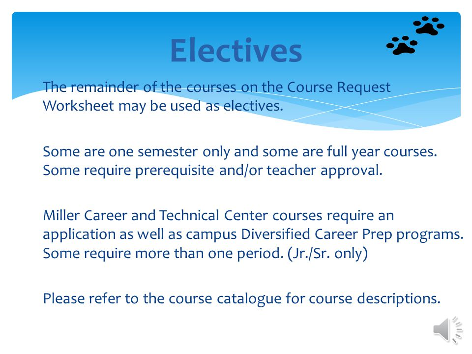 Students are no longer required to take a technology class but are highly encouraged to enroll in a technology class as an elective choice.