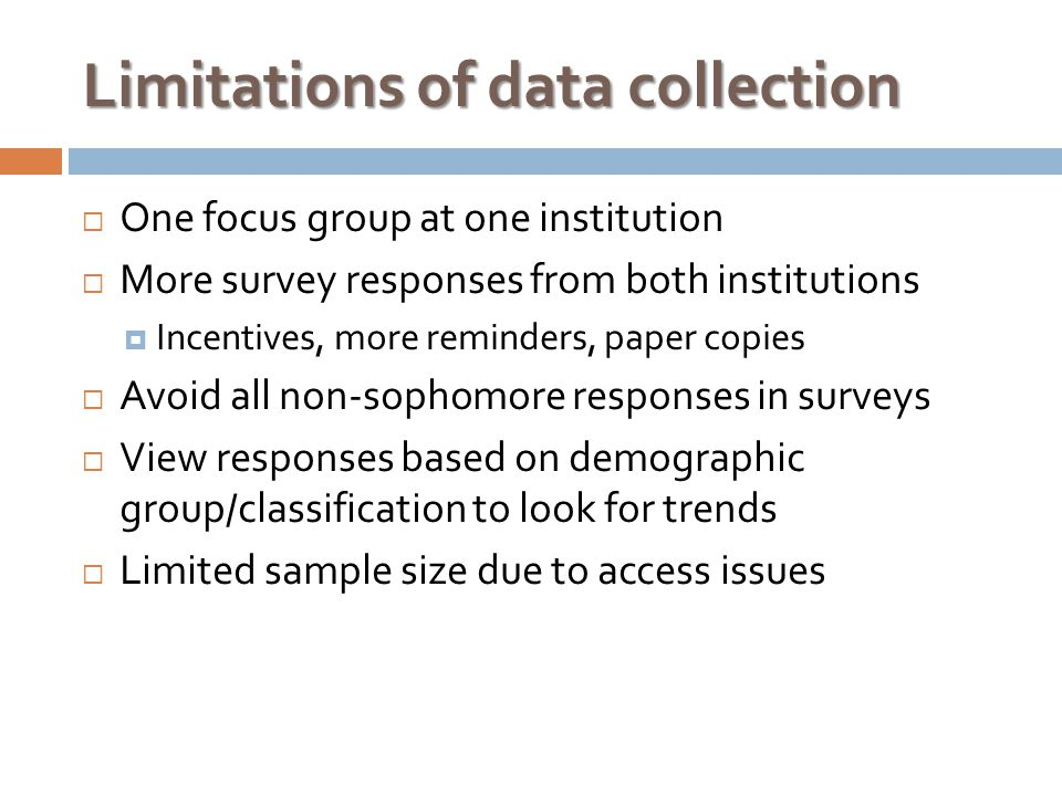 Limitations of data collection  One focus group at one institution  More survey responses from both institutions  Incentives, more reminders, paper copies  Avoid all non-sophomore responses in surveys  View responses based on demographic group/classification to look for trends  Limited sample size due to access issues