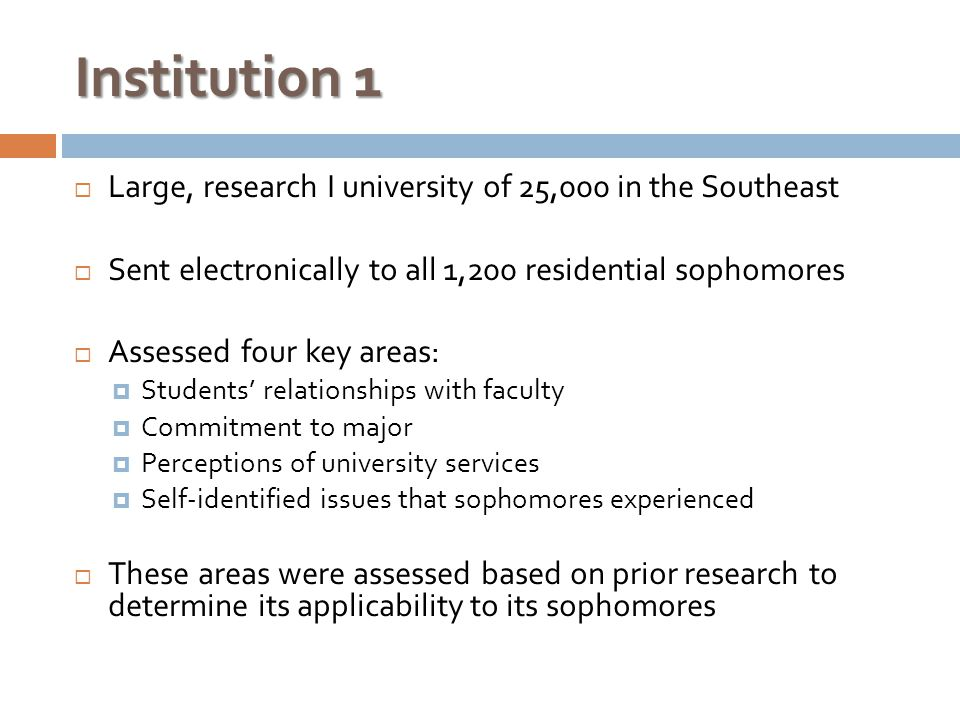 Institution 1  Large, research I university of 25,000 in the Southeast  Sent electronically to all 1,200 residential sophomores  Assessed four key areas:  Students' relationships with faculty  Commitment to major  Perceptions of university services  Self-identified issues that sophomores experienced  These areas were assessed based on prior research to determine its applicability to its sophomores