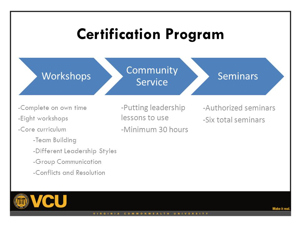 Certification Program -Complete on own time -Eight workshops -Core curriculum -Team Building -Different Leadership Styles -Group Communication -Conflicts and Resolution -Putting leadership lessons to use -Minimum 30 hours -Authorized seminars -Six total seminars Workshops Community Service Seminars