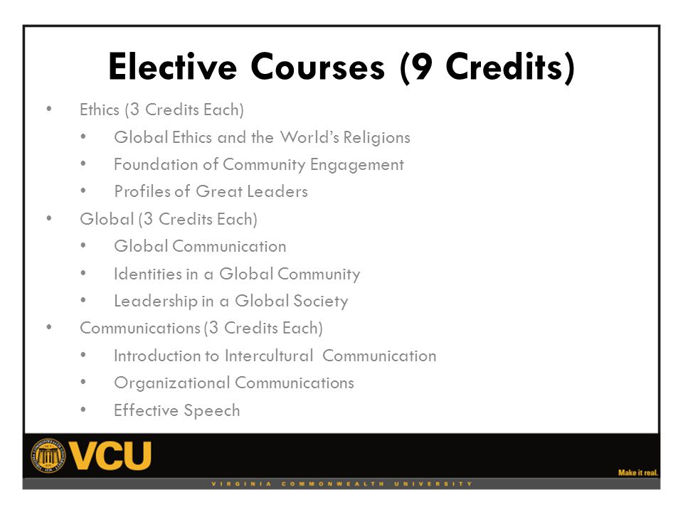Elective Courses (9 Credits) Ethics (3 Credits Each) Global Ethics and the World's Religions Foundation of Community Engagement Profiles of Great Leaders Global (3 Credits Each) Global Communication Identities in a Global Community Leadership in a Global Society Communications (3 Credits Each) Introduction to Intercultural Communication Organizational Communications Effective Speech