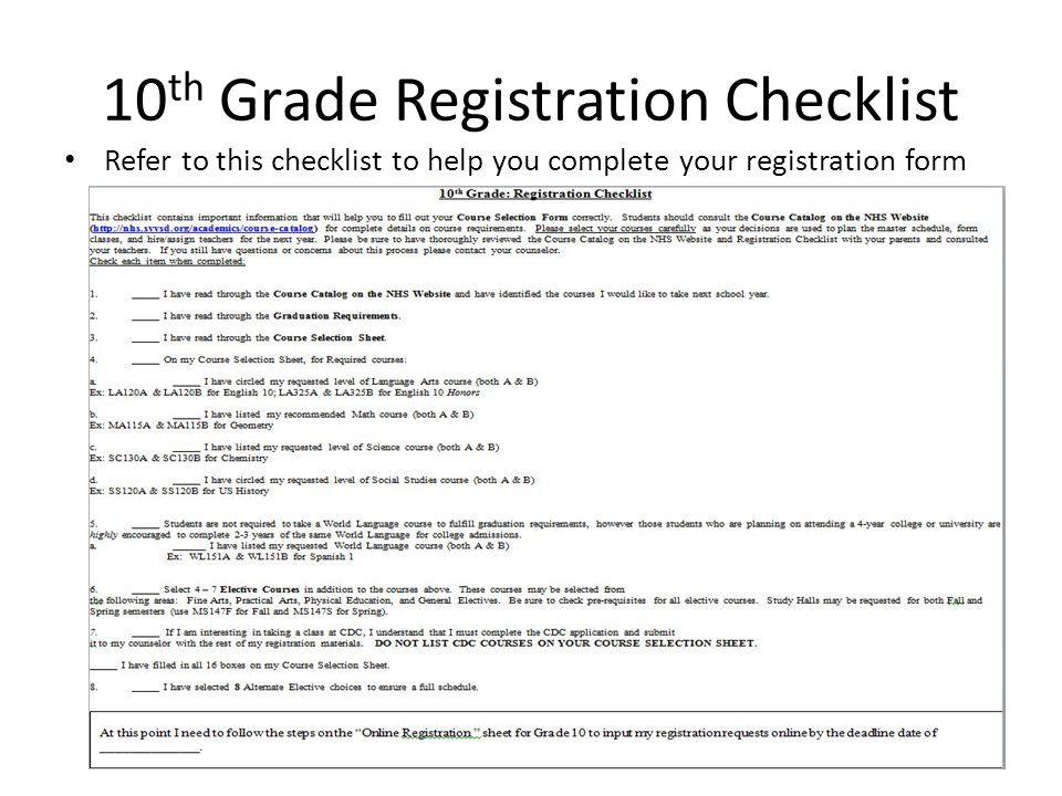 10 th Grade Registration Checklist Refer to this checklist to help you complete your registration form