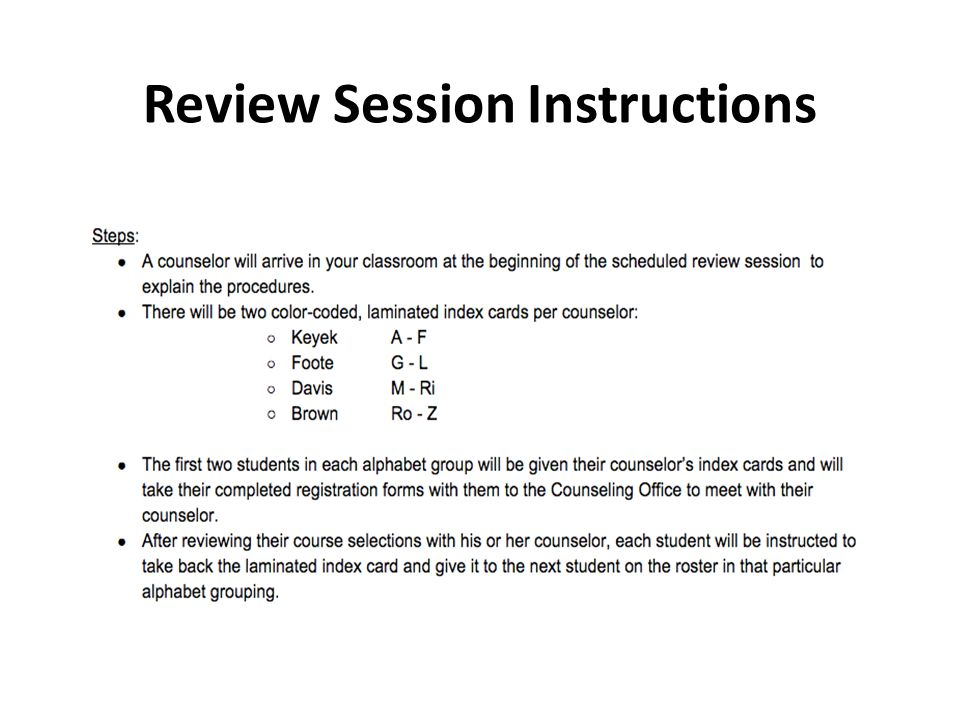 Review Session Instructions