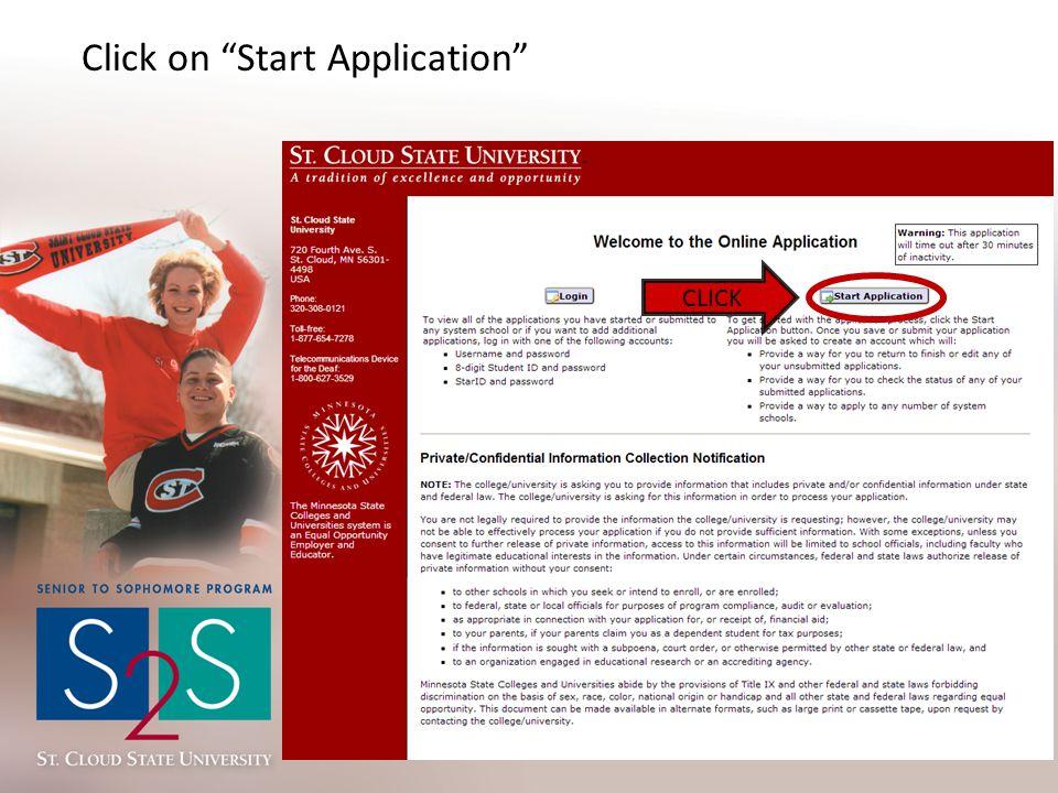 "Click on ""Start Application"" CLICK"