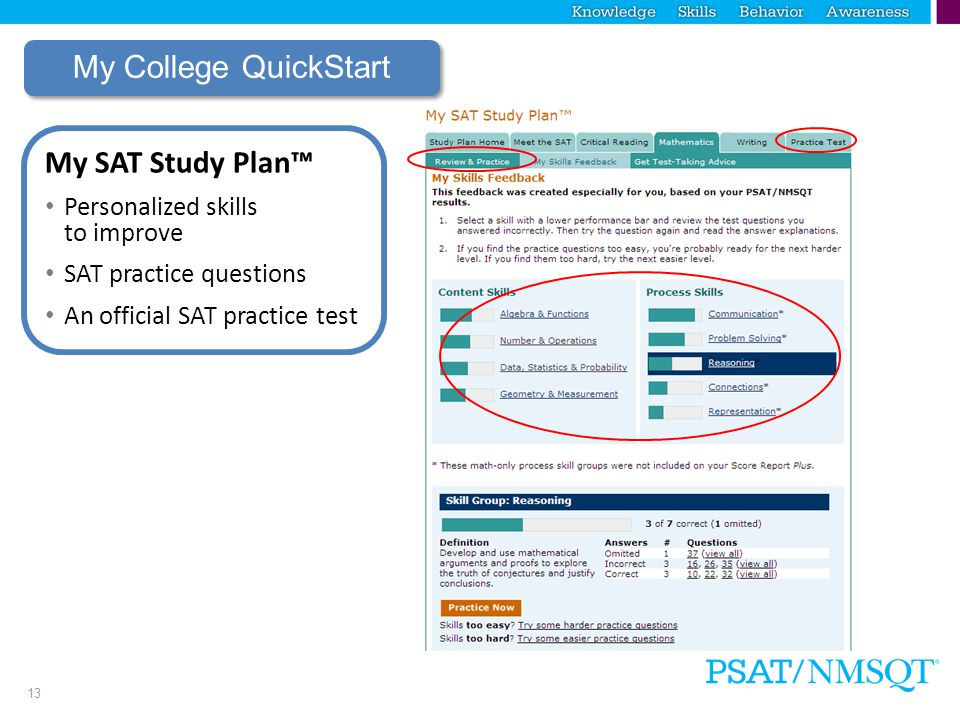 13 My College QuickStart My SAT Study Plan™ Personalized skills to improve SAT practice questions An official SAT practice test