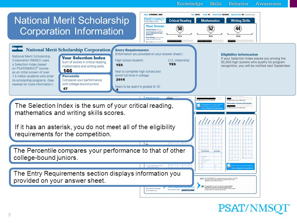 5 National Merit Scholarship Corporation Information The Entry Requirements section displays information you provided on your answer sheet.