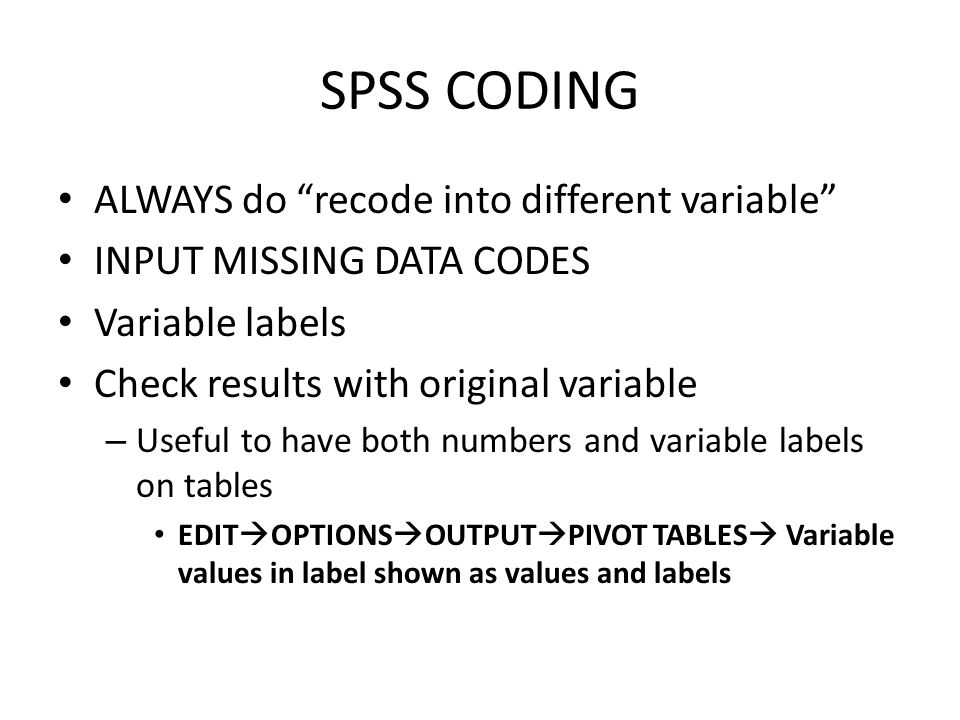 Class Exercise Recode a variable from GSS – Create a variable called married_r where: 0 = not married 1 = married Be sure to label your new variable.