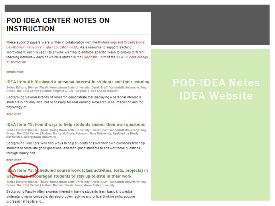 POD-IDEA Notes IDEA Website