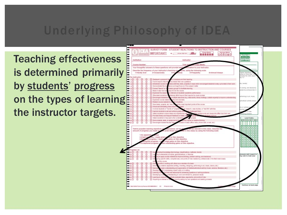 Underlying Philosophy of IDEA Teaching effectiveness is determined primarily by students' progress on the types of learning the instructor targets.
