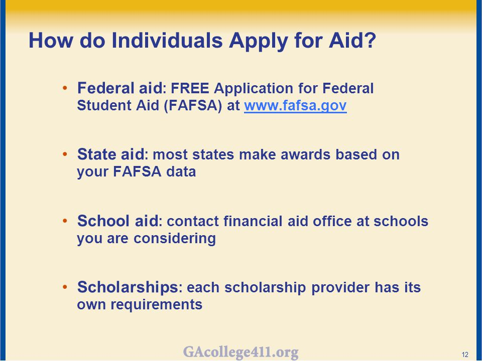 How do Individuals Apply for Aid.